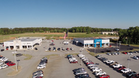 4K aerial marketing video of Chevy Dealership